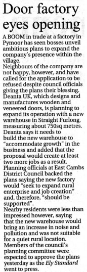 Article in the Ely Standard about Deanta UK of Straight Furlong, Pymoor.