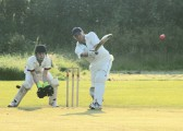 Shaun Butcher playing for Pymoor CC in their evening Kirkland Cup match against Ely CC. 2012