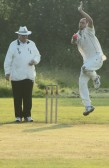 Lourens Herselman playing for Pymoor CC in their  evening Kirkland Cup match against Ely CC.