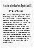 Extract from the Downham Parish Magazine dated September 1912 about Pymoor School.
