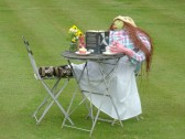 A scarecrow relaxes with a book on the lawn in front of Lane Farm, Pymoor Lane, Pymoor 2012.