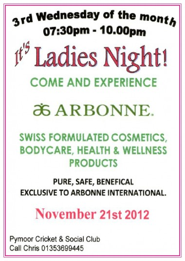 The Ladies of Pymoor enjoyed a talk & demonstration of Arbonne Beauty & Bodycare products at the Pymoor Cricket & Social Club, Pymoor, Nov 2012.