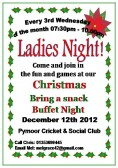 It was Ladies Night at the Pymoor Cricket & Social Club. The ladies enjoyed fun & games at the Christmas Bring a snack Buffet Night 2012.