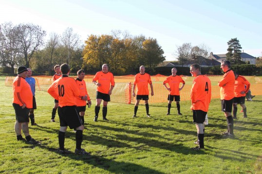 It is half time &  the Dads take a well earned rest during their charity football match against Pymoor FC 2012.