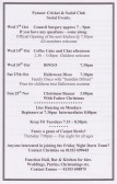 Notice in the Downham, Pymoor & Coveney Parish Magazine advertising forthcoming events at the Pymoor Cricket & Social Club.