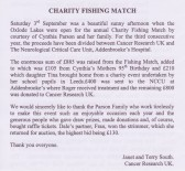 Letter from Janet South published in the Downham, Pymoor & Coveney Parish Magazine giving thanks for money donated at the Charity Fishing Match.