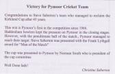 Article in the Downham, Pymoor & Coveney Parish Magazine congratutating Pymoor Cricket Club's success in winning the Kirkland Cup 2011.