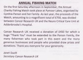 Letter published in the Downham, Pymoor & Coveney Parish Magazine thanking the Parson family for organising the Charity Fishing Match 2010.