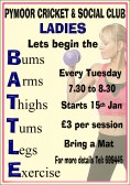 Ladies are invited to Keep Fit sessions every Tuesday at the Pymoor Cricket & Social Club, in Pymoor Lane. Starts 15th Jan. See poster for details.