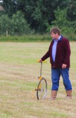 Nigel Fyfe marking out the field ready for the Pymoor Show 2012.
