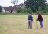 Marking out the field ready for the Pymoor Show 2012.
