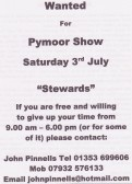 Appeal in the Downham, Pymoor & Coveney Parish Magazine for stewards at the Pymoor Show 2008.