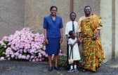 Rev John Amakwatia with his family outside the Pymoor Methodist Chapel, Main Street, Pymoor. He was Minister at the Chapel from Sep 1966 to Aug 2000.