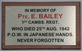The new plaque in the Methodist Chapel in Pymoor in memory of Eddie Bailey who died in WW2.