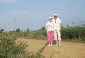 Rosemary & Roger Davis walking along the Hundred Foot Bank near Oxlode Pumping Station 2013