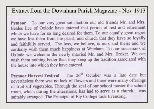 Extract from the Downham Parish Magazine - Nov 1913