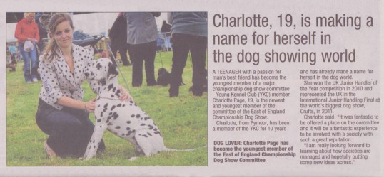 Article in the Ely News about Charlotte Page of Pymoor, 2013