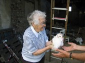 Joan Saberton with a Baby Barn Owl near Oxlode Fishing Lakes 2004