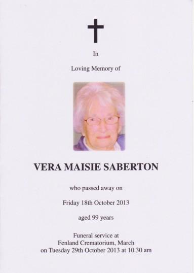 Service Sheet for Vera Saberton's Funeral 2013