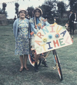 Millie and Joan Saberton at the Carnival on the Sports Club Field in Pymoor, 1984.