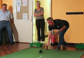 Michael Saberton playing carpet bowls in the Pymoor Social Club, Pymoor 2006.