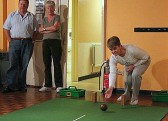 Rosemary Davis playing carpet bowls in the Pymoor Social Club, Pymoor 2006.
