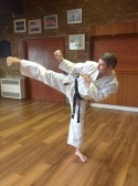 Grant Bennett runs a Children's Karate Club every Saturday in the Pymoor Cricket & Social Club. 2014.