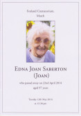 Service Sheet for Joan Saberton's Funeral 2014