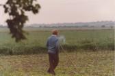 Eric Barker, in his field off Pymoor Lane, Pymoor. (circa 1981)