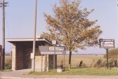 Bus Shelter and Pymoor Village Sign at the crossroads in Pymoor (circa 1981)