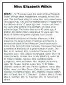 Notice of the Death and Funeral of Elizabeth Wilkin (Formally of Oxlode)