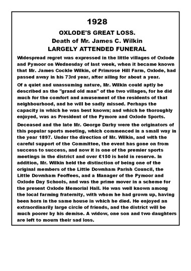 Notice of the Death and Funeral of James Cockle Wilkin of Oxlode and Pymoor who passed away on the 5th December 1928, aged 73 years.