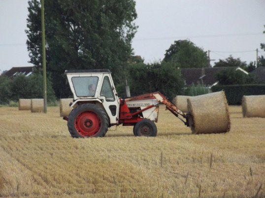 Moving Straw Bales in Graham Lark's Field off Pymoor Lane, Pymoor 2014