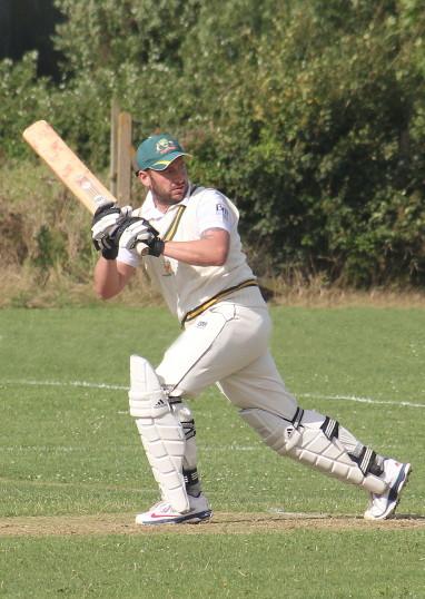 Ashley Legge playing cricket for Pymoor CC 2014