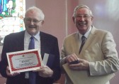 Cyril Heaps was presented with a new hymn book, certificate, paperweight and a commemorative bag for 60 years service to the Pymoor Methodist Chapel as Steward, 2014