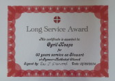Certificate awarded to Cyril Heaps for 60 years service to the Pymoor Methodist Chapel as Steward, 2014
