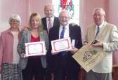 Cyril Heaps and Pat Golding were presented with certificates for long service to the Pymoor Methodist Chapel, 2014