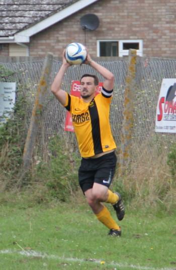 Little Downham Swifts FC v Cottenham FC, 2014.  Edward Hale takes a throw-in.