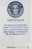 Corkers Crisps of Pymoor were awarded a certificate from Guiness World Records for creating the biggest bag of crisps in the world! 2013.