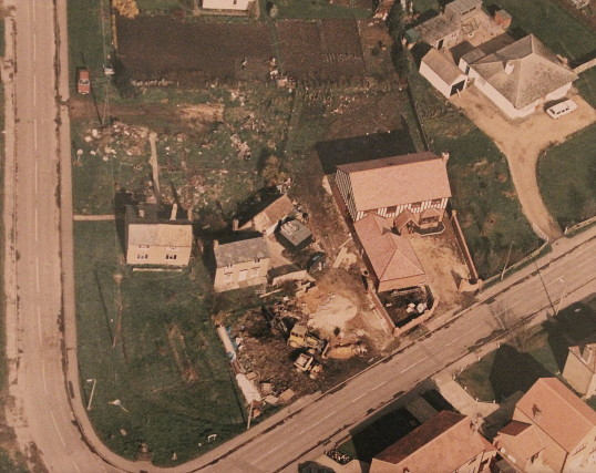 Corner of Straight Furlong and Pymoor Lane, seen from the air, circa 1995.