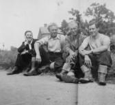 Dennis Hall, Ivan Martin, Hubert Stevens, Albert Cornwell in Pymoor, circa 1950