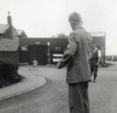 Stan Butcher and Sid Dewsbury outside the Garage on Pymoor Hill, circa 1950