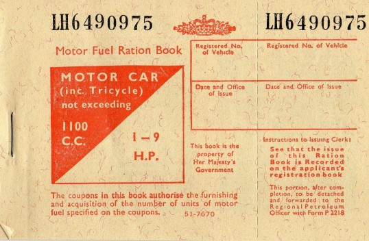 Motor Fuel Ration Book, circa 1956