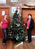 Alana Barker and Christine Saberton decorated the Pymoor Cricket and Social Club Christmas Tree, ready for the forthcoming celebrations, 2014