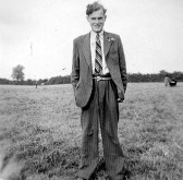 Derrick Godbold on the cricket field in Pymoor, circa 1950.