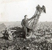 Dennis Hall with a Beet Harvester in Pymoor, circa 1950