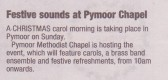 Pymoor and Coveney Methodist Chapels' Carol Service, 2014