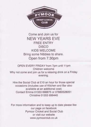 Pymoor Cricket and Social Club leaflet advertising the club and the forthcoming New Year's Eve Disco, Dec 2014