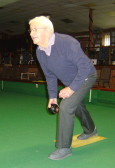 Alan Butcher of Pymoor playing bowls at the City of Ely Bowls Club, 2014