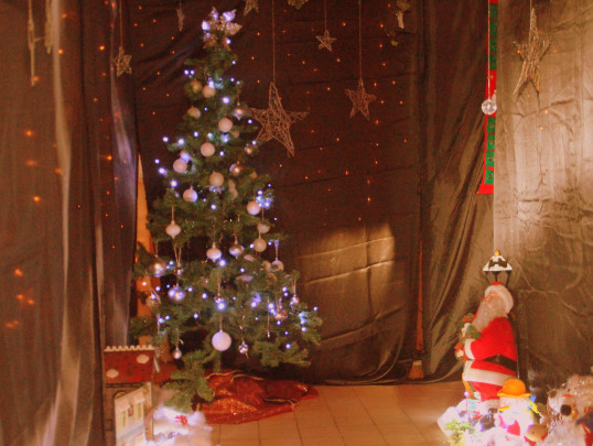 Santa's Grotto at the Pymoor Cricket and Social Club Christmas Bazaar, 2014